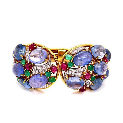 SABADINNI 18k Sapphire Rubies Emerald Diamonds Cuff