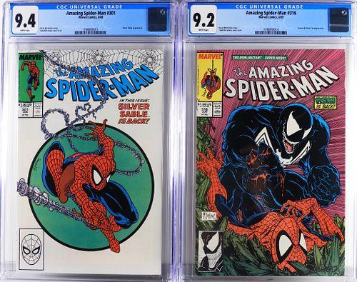 Marvel Amazing Spider-Man #301 #316 CGC 9.4 9.2
