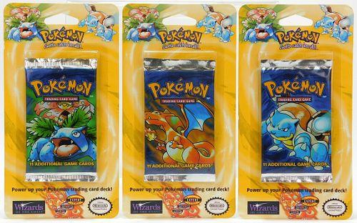 3PC Pokemon Base Unl. MOSC Blister Pack Cards