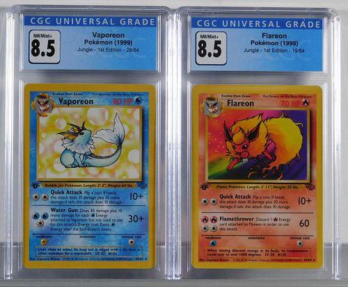 1999 Pokemon Jungle 1st Flareon Vaporeon CGC 8.5