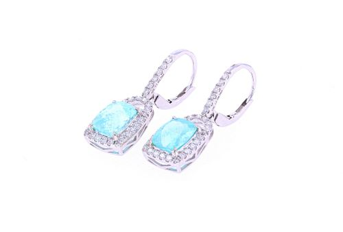 Paraiba Tourmaline & Diamond 18k Gold Earrings