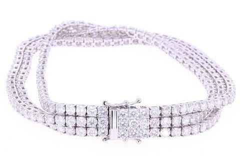 Amazing 16.4ct Diamond Triple Strand 14k Bracelet