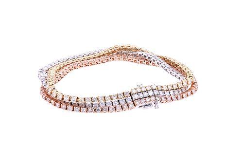 Brilliant Diamond 14k Tri-Tone Gold Bracelet