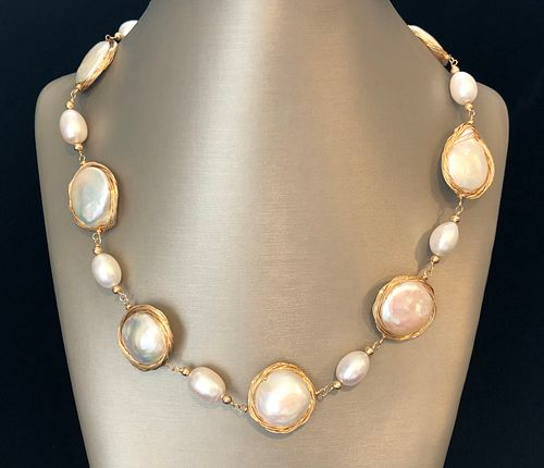 17mm White Baroque Pearl Vermeil Wire Necklace