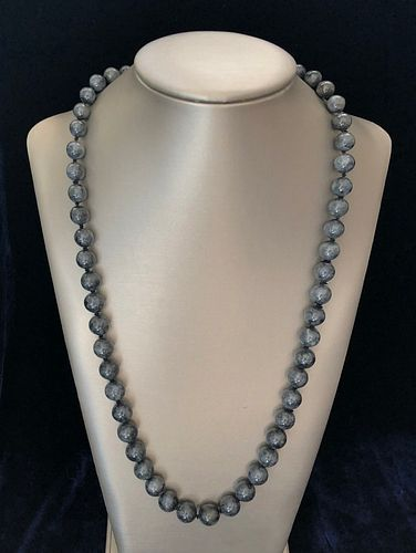 Mossy Green-Grey Jadeite Graduated Bead Necklace