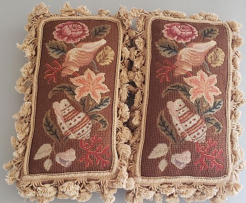 Two Floral and Seashell Needlepoint Pillows, 19th Century Panels