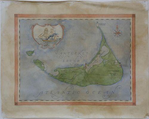 "Redstone Studios Oil on Canvas, ""Map of Nantucket Island"""