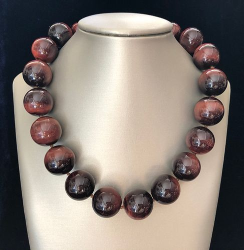 Graduated Red Tiger's Eye Bead Necklace, 18k Yellow Gold Clasp