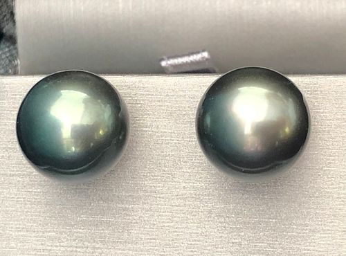 Pair of 13.2mm South Sea Tahitian Grey Pearl Earrings