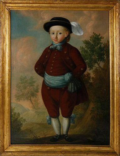 "Georg Mathias Fuchs Oil on Canvas ""Portrait of Jonas Colin as a Three Year Old"", 18th Century"