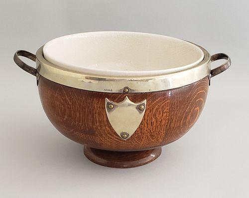 Antique Edwardian English Oak Fruit Bowl