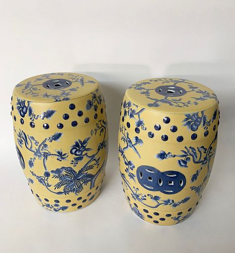 Pair of Yellow and Blue Glazed Chinese Porcelain Garden Stools