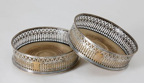 Pair of English Georgian Silver Plate and Wood Wine Coasters, early 19th Century