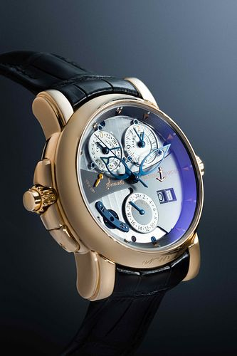 ULYSSE NARDIN, 18K PINK GOLD REF. 676-88 JUMP HOUR DUAL TIME ZONE 'SONATA CATHEDRAL' WRISTWATCH