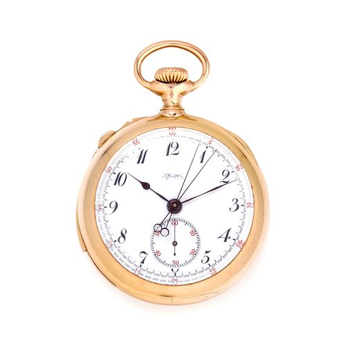 TIFFANY & CO., 18K YELLOW GOLD SPLIT SECOND CHRONOGRAPH OPEN FACE POCKET WATCH
