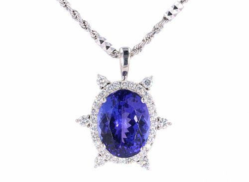 14.65 cts. Tanzanite & Diamond 14k Gold  Necklace