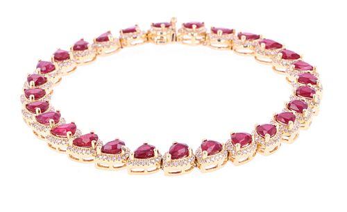 Ruby & Diamond 18k Gold Tennis Bracelet