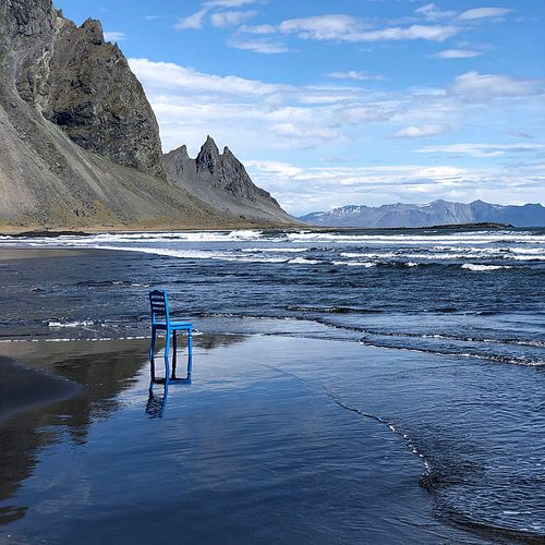 Dan Cassidy Blue Chair Black Beach