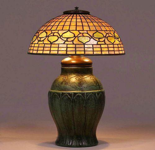 Tiffany Studios Leaded Glass Acorn Lamp Wheatley
