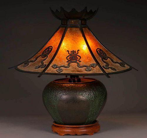 Lillian Palmer Lamp Harry S. Dixon Hammered Copper Base