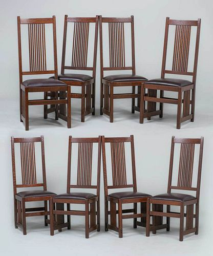 8 Gustav Stickley Tall Spindled Side chairs c1907