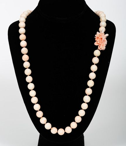 14K YELLOW GOLD & NATURAL CORAL STRAND NECKLACE