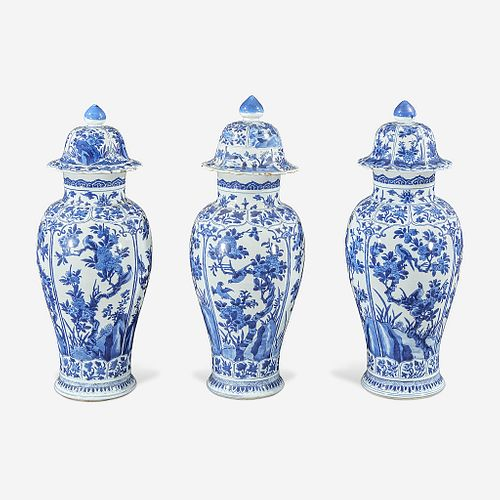 Three Chinese blue and white porcelain baluster vases and covers Kangxi period