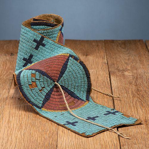 Early Sioux Beaded Buffalo Hide Blanket Strip