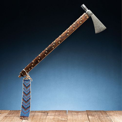 Plains Pipe Tomahawk, Decorated with Tacks and Beaded Drop