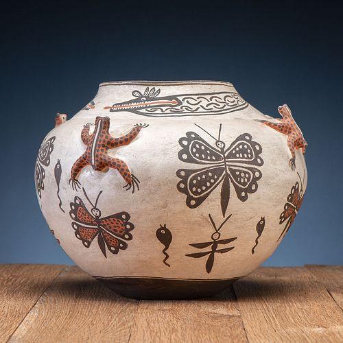 Zuni Polychrome Pottery Frog Jar
