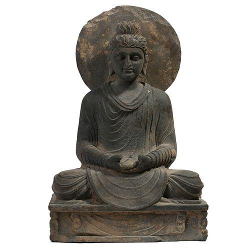 AN INDIAN GANDHARA STONE FIGURE OF BUDDHA