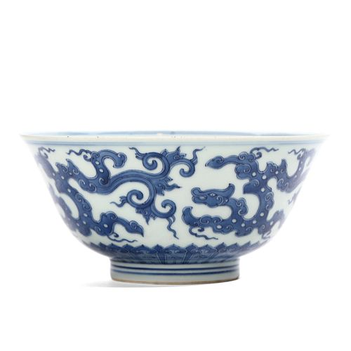 A CHINESE BLUE AND WHITE 'DRAGON' BOWL