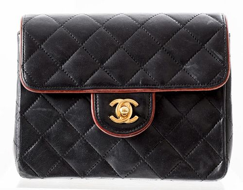 Chanel Navy Blue Quilted Leather Handbag