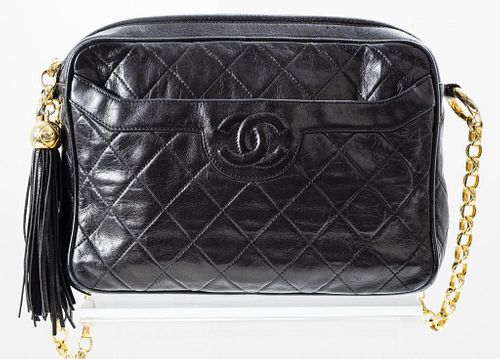 Chanel Black Quilted Leather Camera Handbag