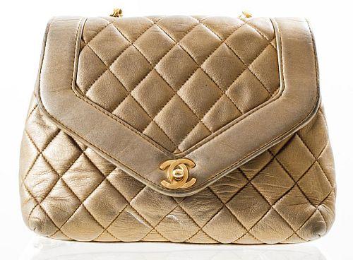 Chanel Quilted Metallic Leather Handbag