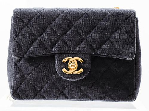 Chanel Black Quilted Fabric Handbag