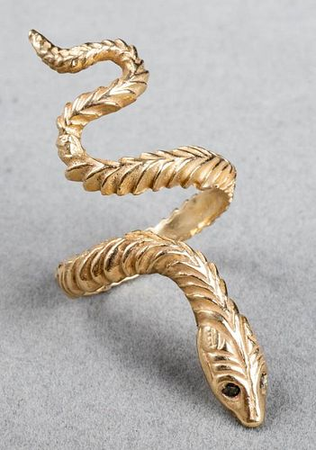 14K Yellow Gold Carved Snake Ring
