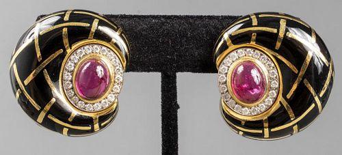 Boris Le Beau 18K Tourmaline & Diamond Earrings