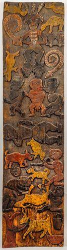 Nigerian Carved Wood Lintel Panel w Animals