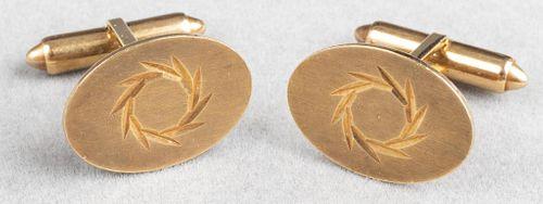 14K Yellow Gold Oval Diamond-Cut Cufflinks