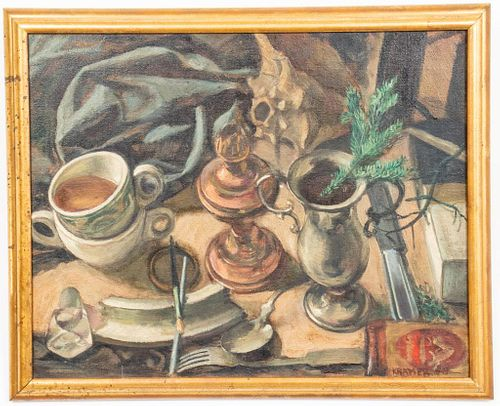 Jack Kramer Still Life Oil on Canvas, 1948