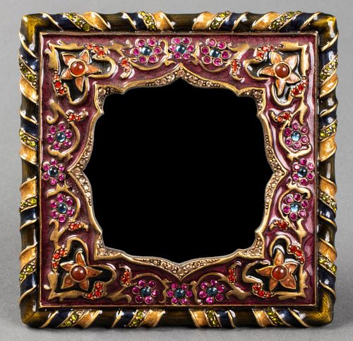Jay Strongwater Enamel Floral Motif Picture Frame