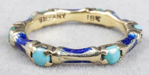 Tiffany & Co. 18K, Turquoise & Blue Enamel Ring