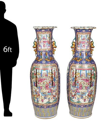 Pr. Large Chinese Famille Rose Floor Vases