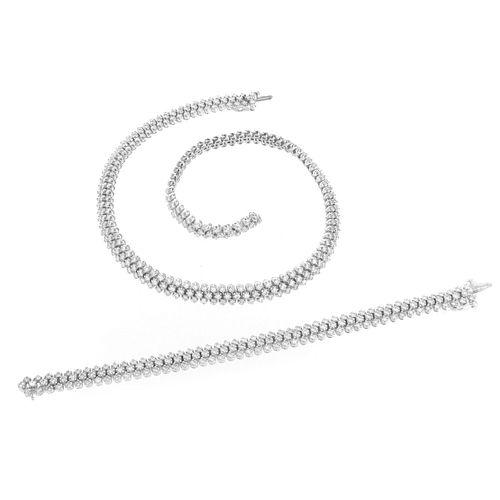 Diamond and 14K Necklace and Bracelet
