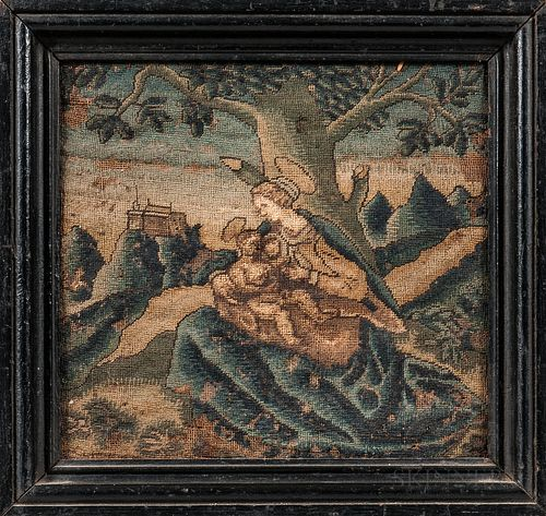 Needlework Picture of the Madonna and Child