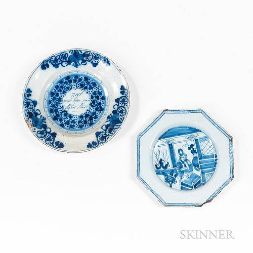 Two Blue and White Delft Plates