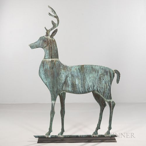 Large Molded Copper Stag Weathervane