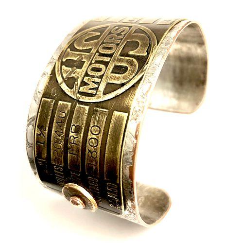 US Motors Brass and Copper Cuff Bracelet