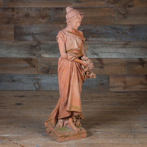 Italian Terracotta Figure of Primavera, signed M.I.T.A.L, Impruneta